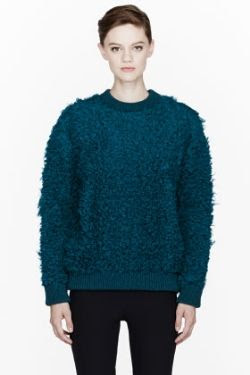 Stella McCartney Teal Fisherman's Teddy Crew Neck Sweater