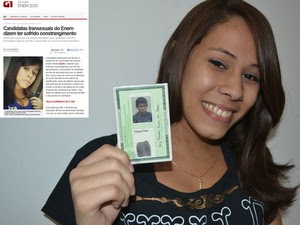 Ana Luiza mostra o RG que aparece em foto com aparência masculina e a assinatura como 'Luiz Cláudio'; G1 noticiou que fiscais do Enem a retiraram da sala (no destaque) (Foto: Gabriela Alves/G1))