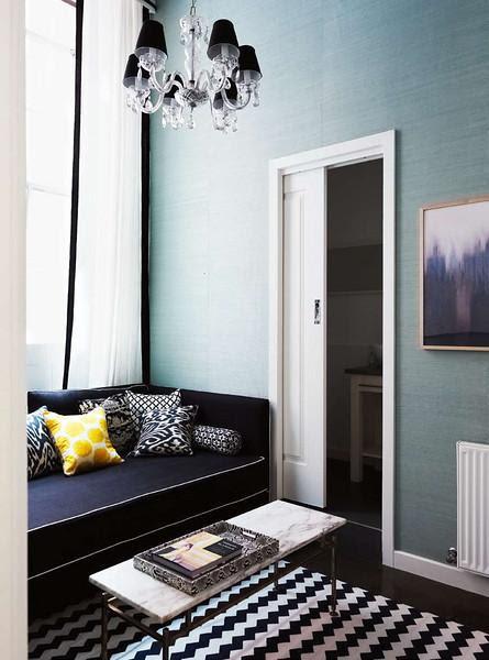 Gina Kates: Diane Bergeron  turquoise blue grasscloth wallpaper, white drapes with black ribbon ...