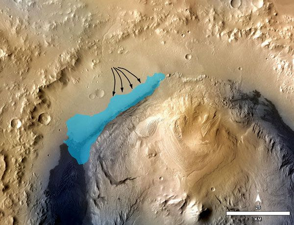 An illustration depicting the concept of a possible ancient lake inside Gale Crater on Mars.