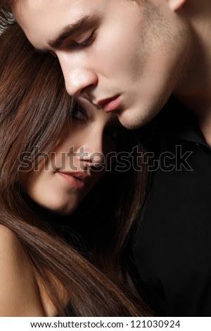 Sexy passion couple, beautiful young man and woman closeup, studio shot - stock photo