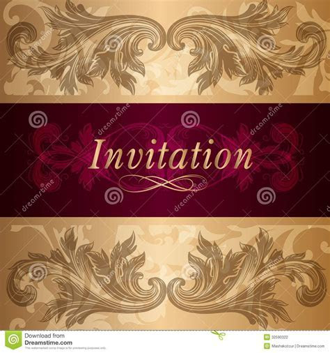 Design Of Luxury Invitation Card In Vintage Style Stock
