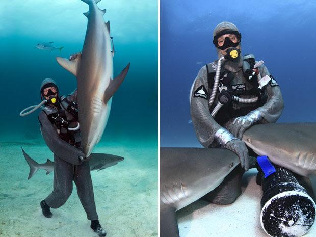 Cristina Zenato com tubarões (Foto: Marcio Lisa/Txai)