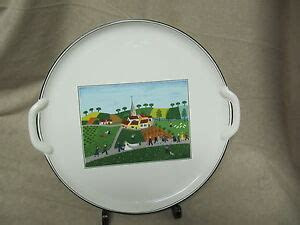 VILLEROY & BOCH DESIGN NAIF HANDLED CAKE PLATE WITH