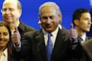 Israel's Prime Minister Netanyahu is seen during the launch of his Likud Beiteinu party campaign in Jerusalem