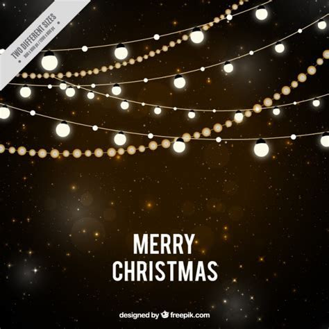 Starry night background with christmas lights Vector