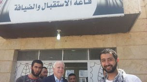 Arizona Senator John McCain during his trip to Syria, crossing from Turkey to Aleppo province