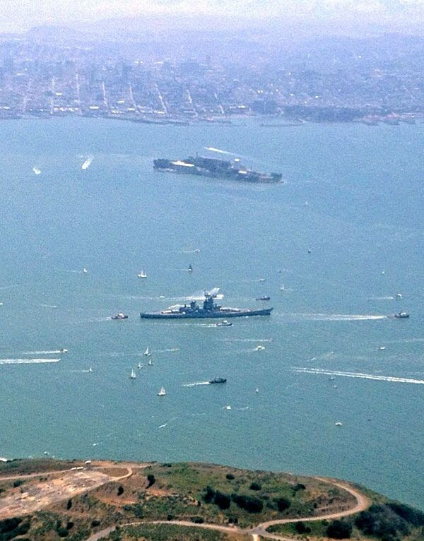 The USS Iowa passes the island of Alcatraz as the battleship embarks on a final trip to SoCal, on May 26, 2012.
