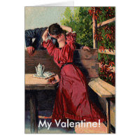 Vintage Valentines Couple Kissing Card