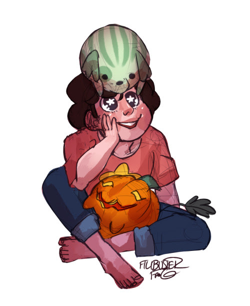 bitterly-overripe said: can you draw steven with pumpkin dog in his lap and watermelon dog on his head? that would be amazing! thanks! Answer: