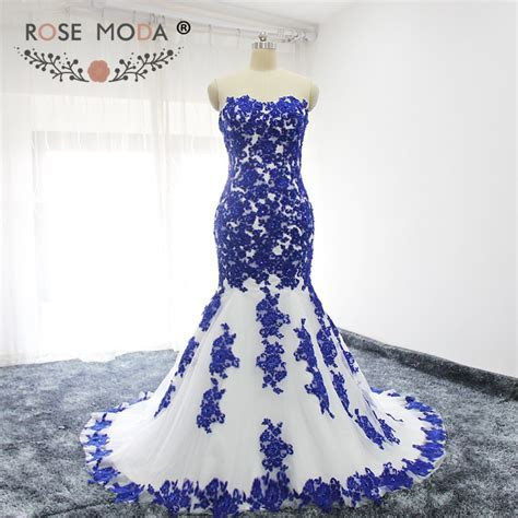 Rose Moda Sweetheart Lace Appliqued White and Blue Mermaid