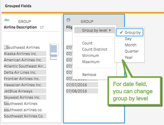 Screenshot of grouping fields in project maestro