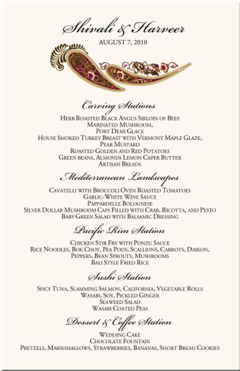 Paisley Buddhist Hindu Wedding Menu Cards,Indian Menu Card