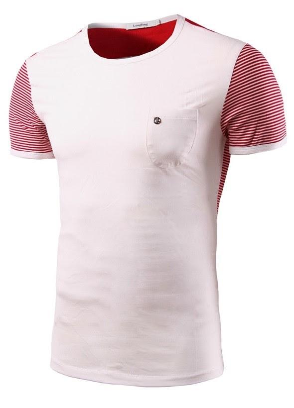 Camiseta Juvenil Sport Casual - Mangas y Espalda a Rayas - en Azul Oscuro y Blanco
