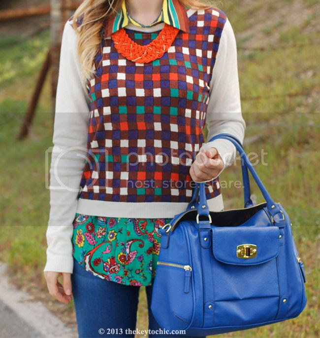 Duro Olowu for JCPenney blouse and plaid sweater, Merona turnlock satchel, Los Angeles fashion blog