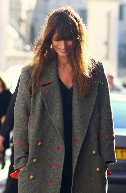 LE FASHION BLOG CAROLINE DE MAIGRET ISABEL MARANT DAVID GREY GRAY ORANGE LINED  MILITARY COAT PARIS STREET STYLE FRINGE BANGS FRENCH STYLE GET THE LOOK