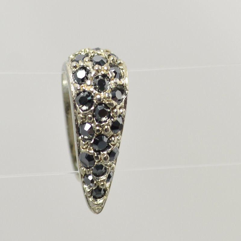 s49068 Findings - Pinch Bail -  Crystal Pave - Jet Hematite / Rhodium