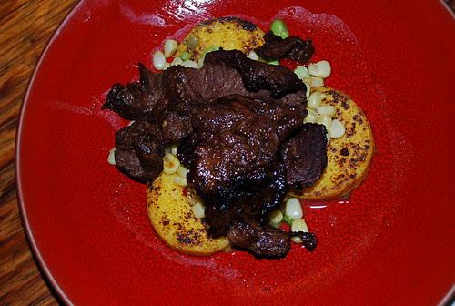 TJ's Bool Kogi on polenta with corn and edamae salad