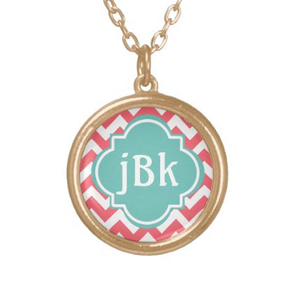 Coral Chevron with Turquoise Center to Monogram Custom Necklace