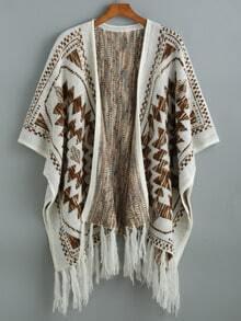 Beige Batwing Sleeve Tassel Geometric Print Sweater