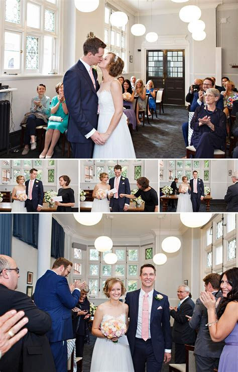 The end of the wedding ceremony at Mayfair Library   the