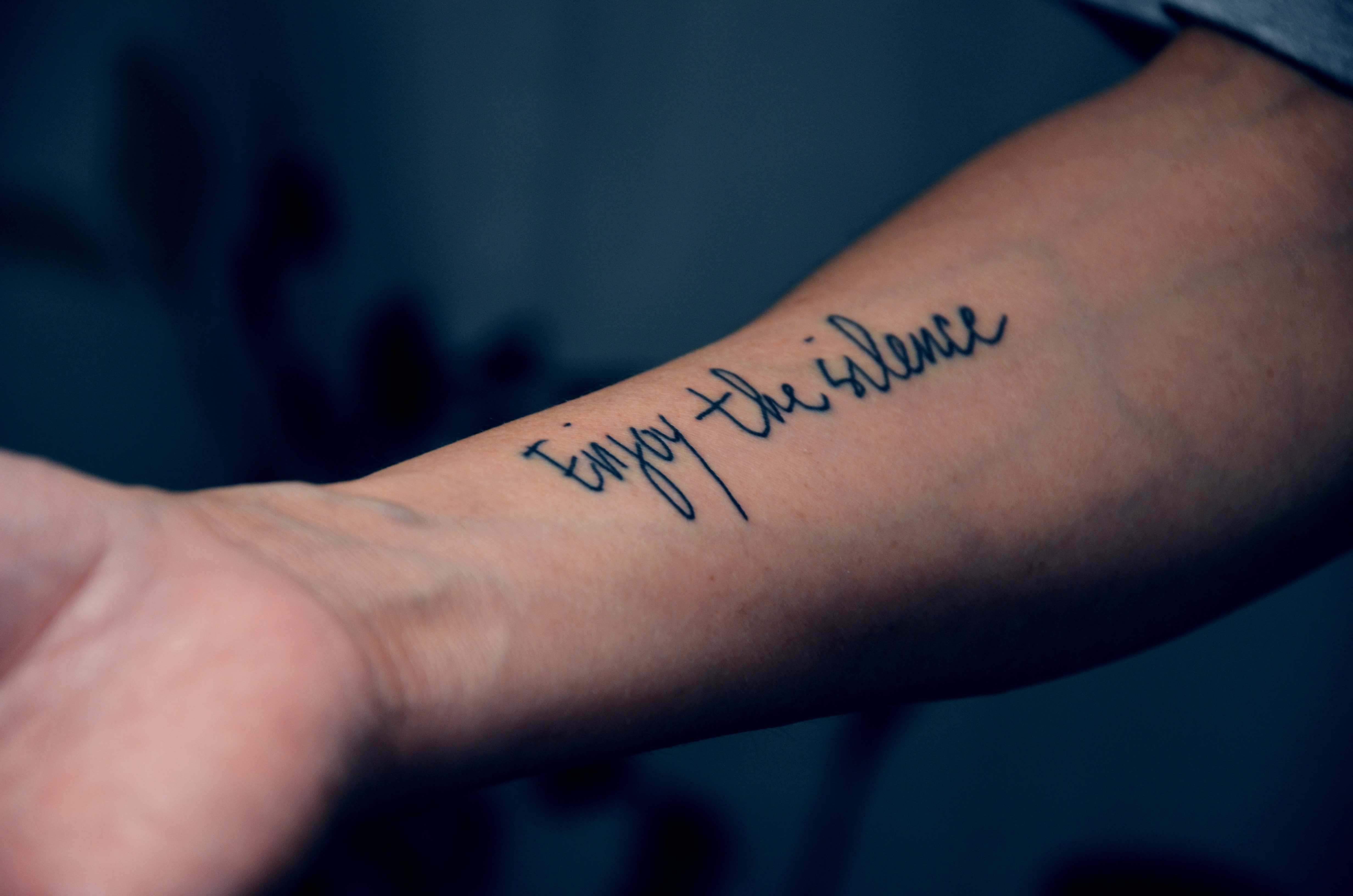 Inner Arm Script Tattoo Designs For Men Man Arm Tattoo Ideas