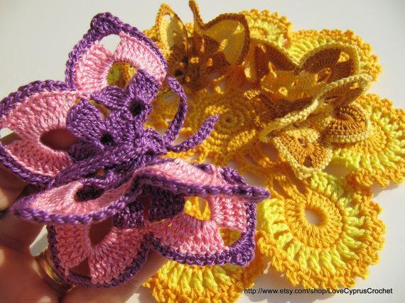 Knit crochet scheme butterflies lesson