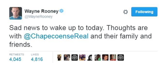 rooney lamenta acidente da chapecoense (Foto: Reprodução Twitter)