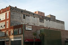 full view of m.l. bath company ghost sign in shreveport