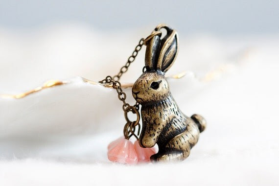 Easter Peach Flowers Bunny Necklace Pink Floral Rabbit Necklace Sweet Little Rabbit Cute Bunny Jewelry - N244