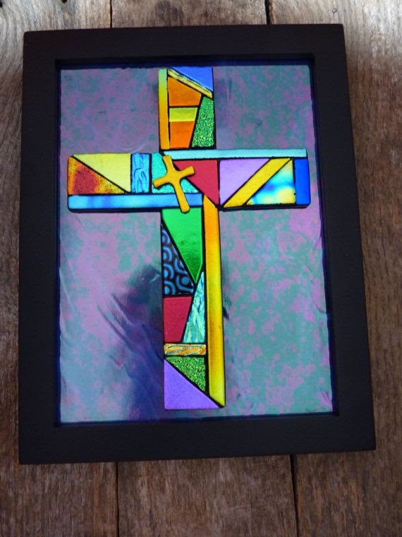 Framed Mosaic Style Dichroic Fused Glass Cross by PureLightStudio, $95.00