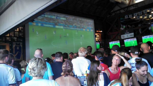 It's a full house at the Legends sports bar in Long Beach, CA, for the World Cup final game in Brazil...on July 13, 2014.