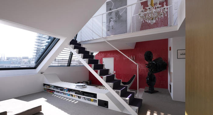 Multi-level living space with skylights
