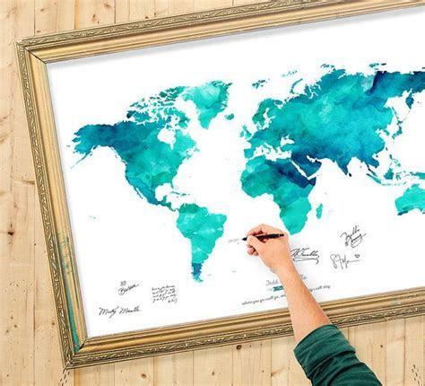 Wedding Guest Book Watercolor World Map   Custom Color
