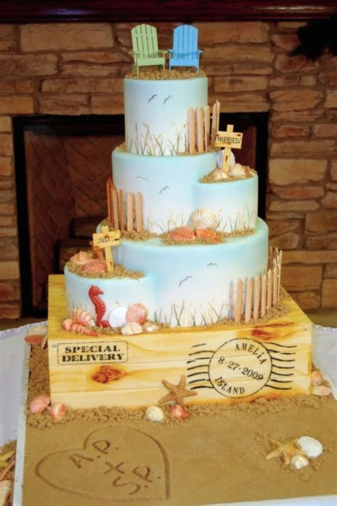 wedding cake toppers: Beach Themed Wedding Cake Toppers