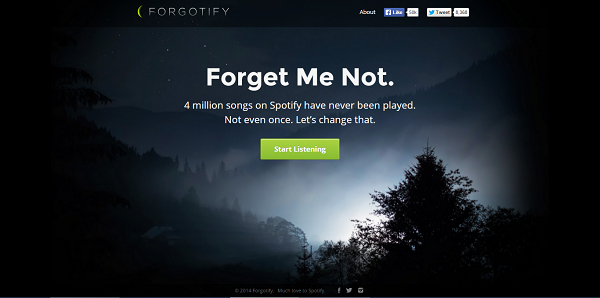 Forgotify lists music tracks that have never been played on Spotify. 4 millions of them.