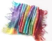 Cobweb Felted scarf -  Rainbow spring scarf - galafilc