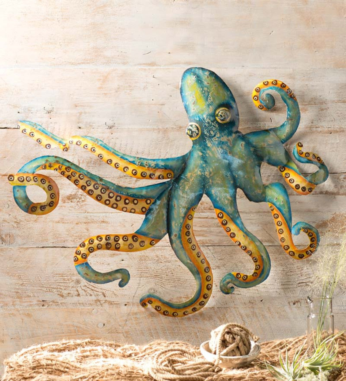 Handcrafted Metal Octopus Wall Art   Patio Wall Hangings ...