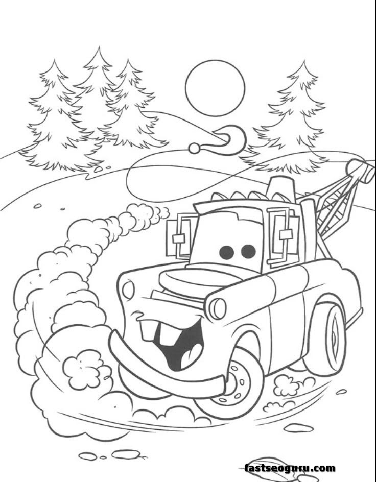 Tow Mater car 2 movies coloring page print out