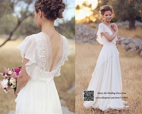 Romantic White V Neck Open Back Short Sleeve Lace Chiffon