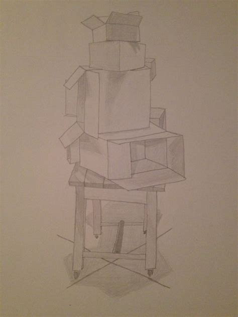 drawing  art class  boxes stacked atop