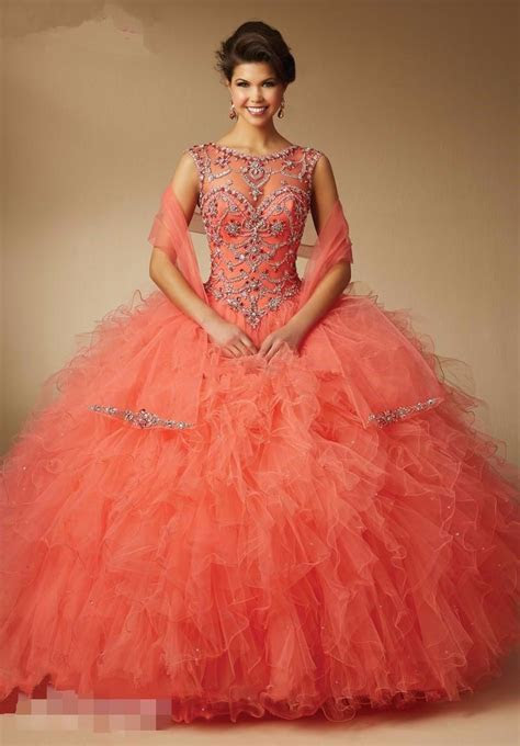 hot pink coral mint green quinceanera dresses  ball
