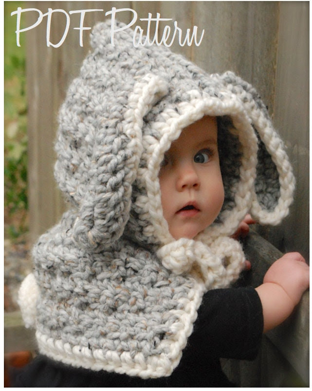 Crochet PATTERN-The Bryor Bunny Hood (6/9 month, 12/18 month,Toddler, Child sizes)