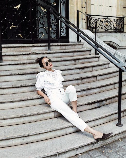 Le Fashion Blog Chriselle Lim White Eyelet Peasant Blouse White Button Up Trousers Brown Mules Via @Chrisellelim