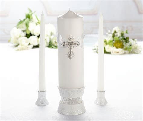 White Cross Unity Ceremony Wedding Candle Set, Wedding