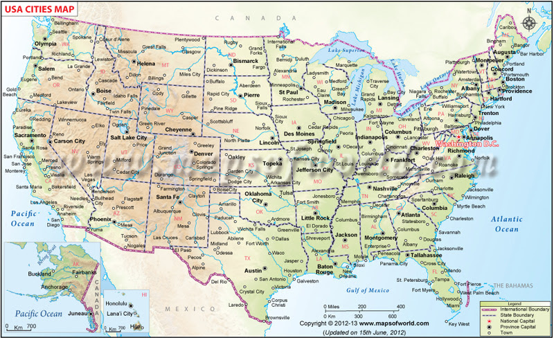 usa cities map cities in usa