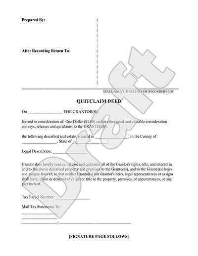 Quit Claim Deed Form - Free Quit Claim Deed Template (with Sample)