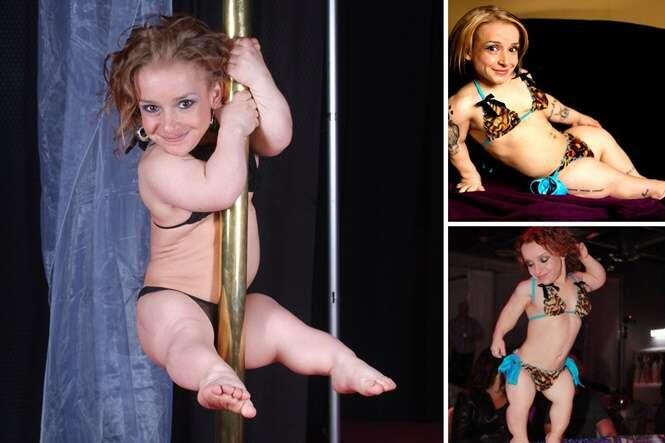 Menor dançarina de pole dance do mundo impressiona homens