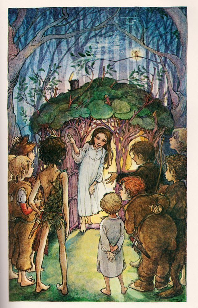 Peter Pan by J.M. Barrie, illustrated by Trina Schart Hyman (1980). same lady that illustrated the saint George and the dragon kids book!