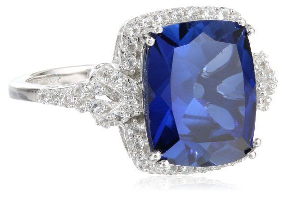 Sterling Silver Cushion Created Ceylon Sapphire and Created White Sapphire Ring, Size 7: Jewelry